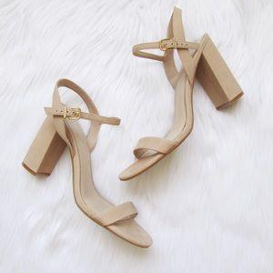 d8a77f73bf1 Gianni Bini Shoes - Gianni Bini McKaria Nubuck leather nude block heel